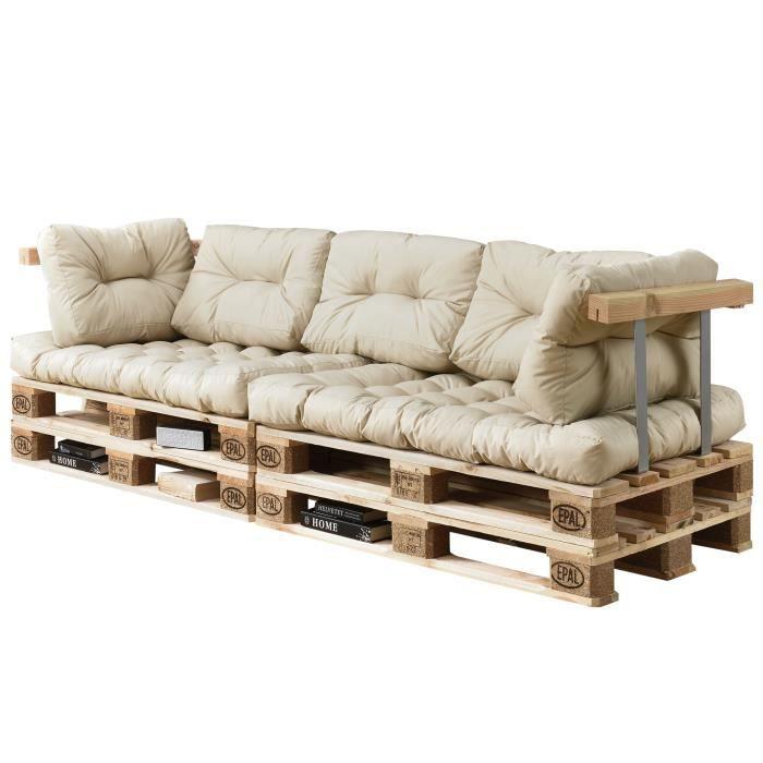 Canapé de palette euro- 3-siège avec coussins- [crème] kit complète incl. dossier et appuie-bras