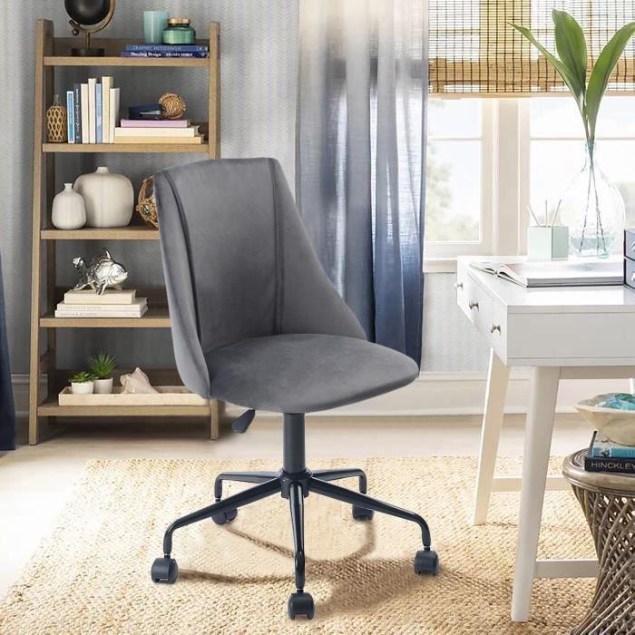 Chaise de bureau Velours Métal Gris Anthracite Noir Réglable Pivot Home Office Moderne Tendance Design Ergonomique Confortable