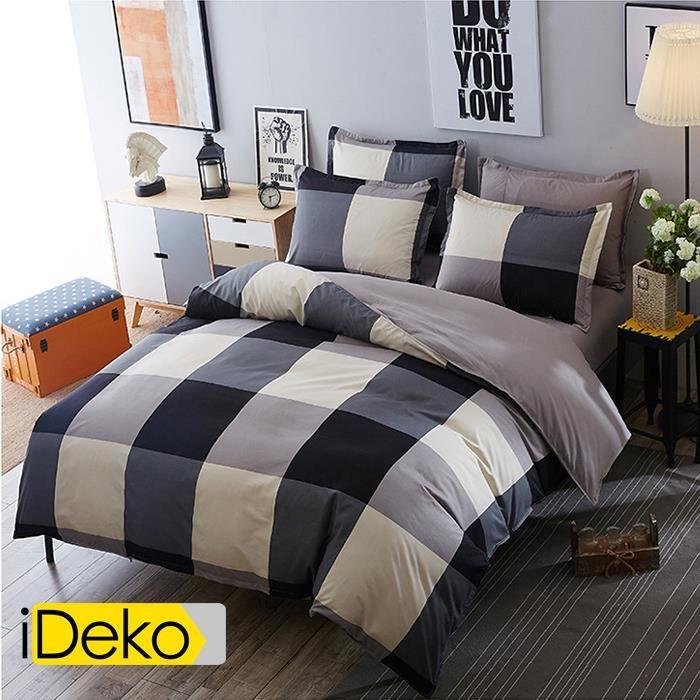 iDeko® Housse de couette parure de lit 155x205 - 100% polyester - 2 personnes – carreau rayure gris et bleu foncé