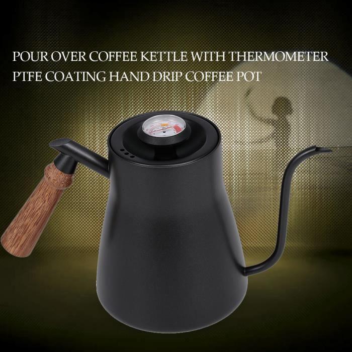Versez sur la bouilloire à café avec thermomètre Goutte à goutte à la main pot de café Manteau en PTFE Poignée en bois b-8_Regisi