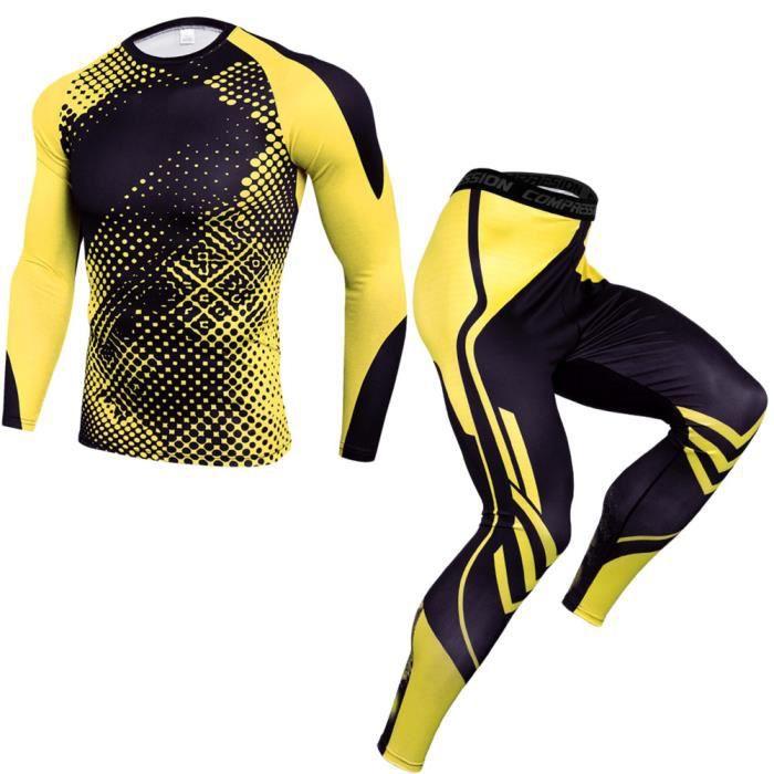 Homme Costume de T-Shirt de Compression Manches Longues Fitness Running Sports Séchage Rapide Baselayer Haut TK175