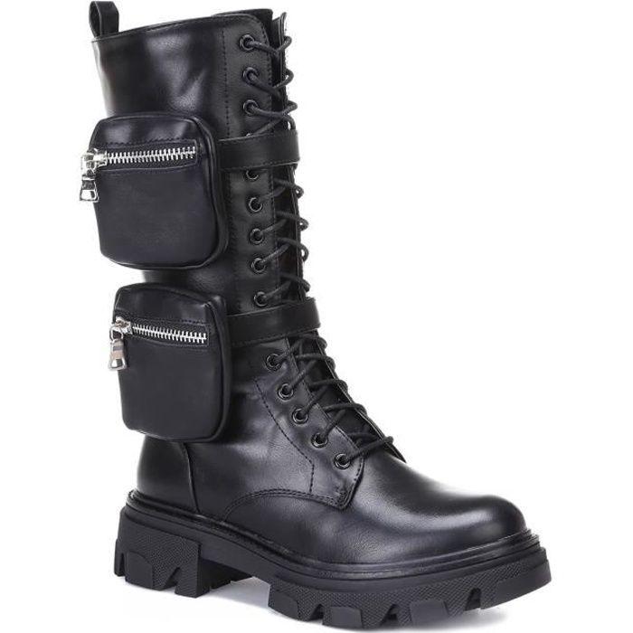 Bottes à lacets noires avec deux poches zippées