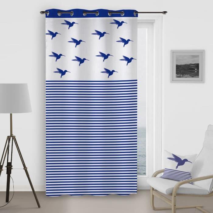 SOLEIL D'OCRE Rideau à œillets Colibri - 140x260 cm - Bleu