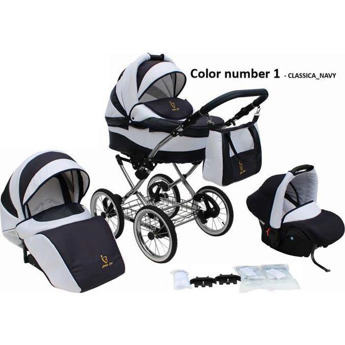 Poussette/Landau avec siège-auto 3en1 et avec accessoires & cadre en chrome et roues 14- gonflables bébé enfant Classica - Bleu