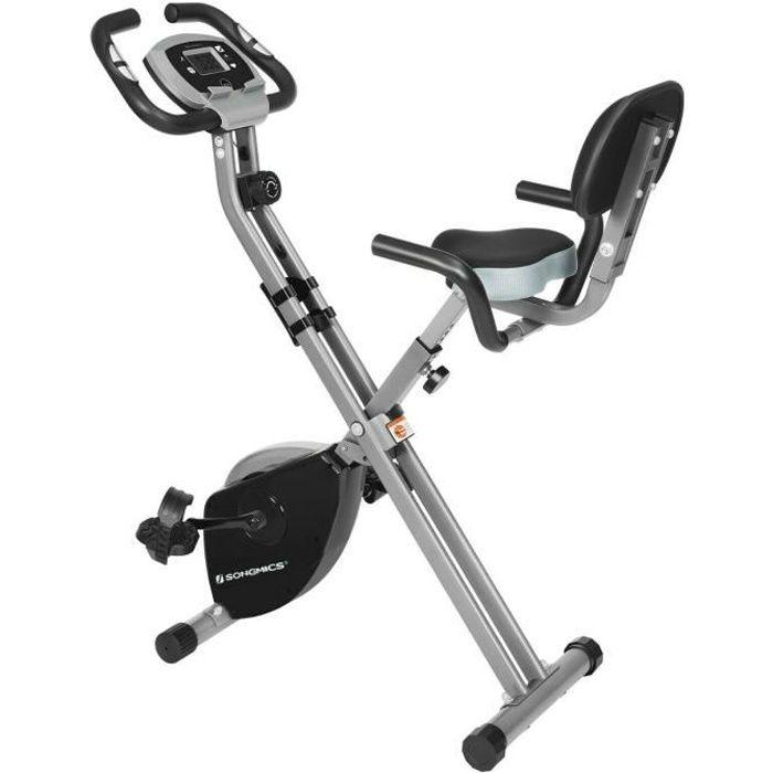 SONGMICS Vélo d'appartement, fitness et exercice pliable, avec dossier, 8 résistances, capteur, charge 100 kg, Noir et Gris