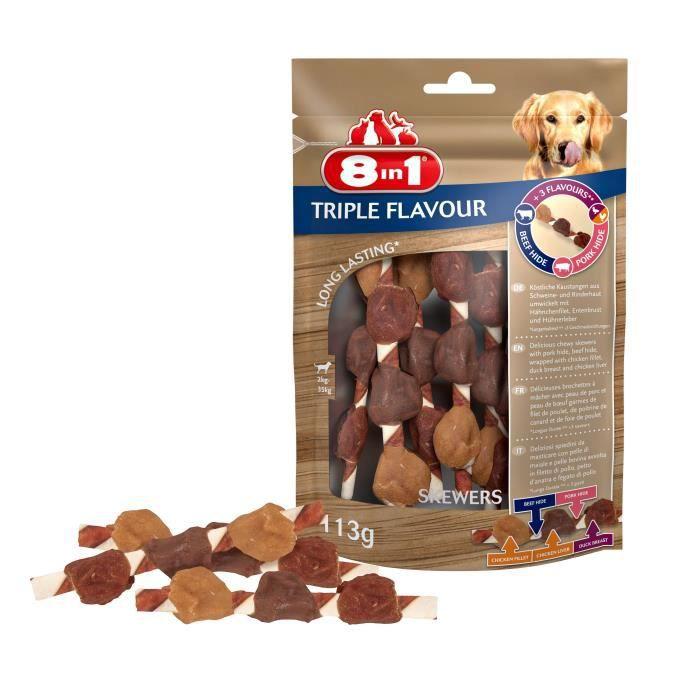 8in1 Triple Flavour Brochettes à mâcher Premium aux Bœuf, Porc, Poulet - Pour chien de petite taille - 6 pièces