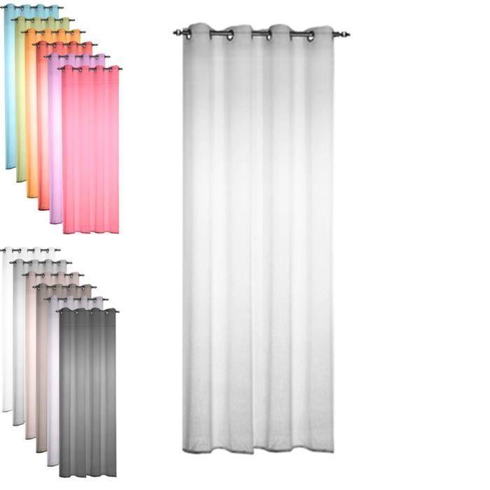 TODAY 257336 Voilage Polyester Zinc-Gris Clair 135 x 240 cm