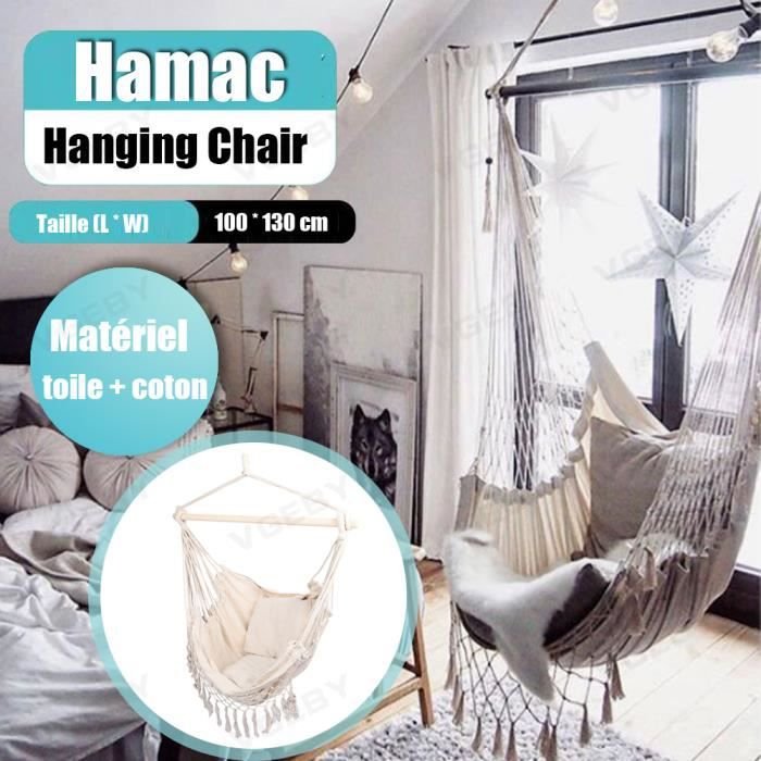 VGEBY Fauteuil Hamac suspendu design 1 Place Extérieur intérieur avec oreiller confortable en Coton Blanc