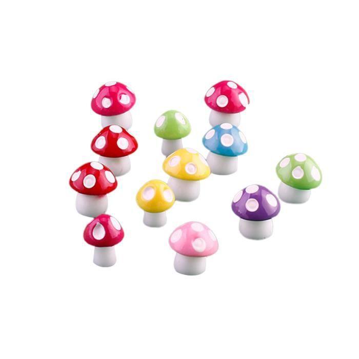 50 Pcs Champignon Ornement Résine Créative Artificielle Coloré Bonsaï Décor Miniature Artisanat Jardin pour OBJET DECORATIF