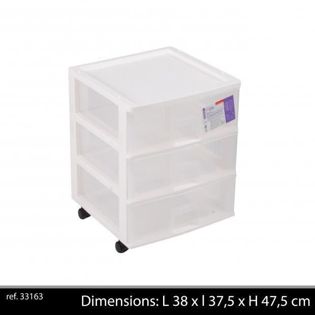 box de rangement blanc 3 tiroirs plastique polypropyl ne bloc plastique blanc achat vente. Black Bedroom Furniture Sets. Home Design Ideas