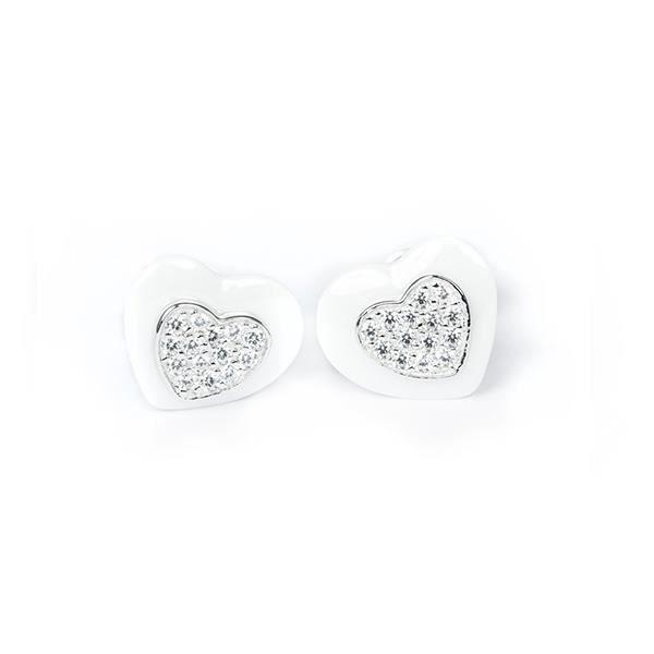 Boucle d'oreille Boucles d'oreilles Coeurs en Céramique Blanche, Ar