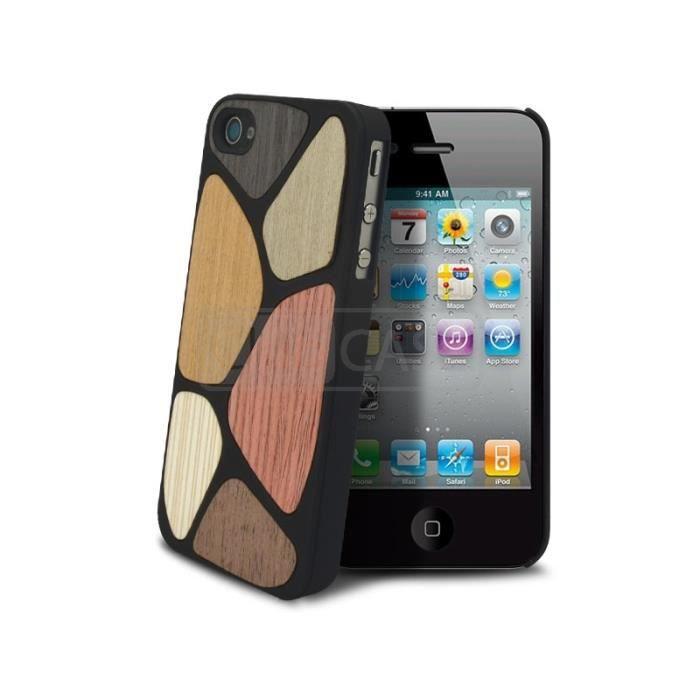 Coque Housse Etui en Bois Patchwork iPhone 4/4s