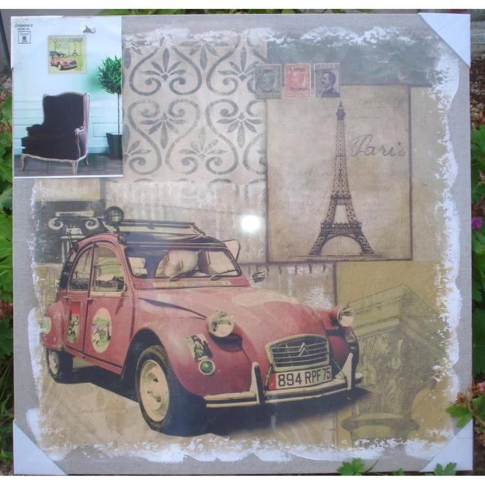 Toile sur chassis tableau voiture 2 cv style carte achat - Toile sur chassis ...