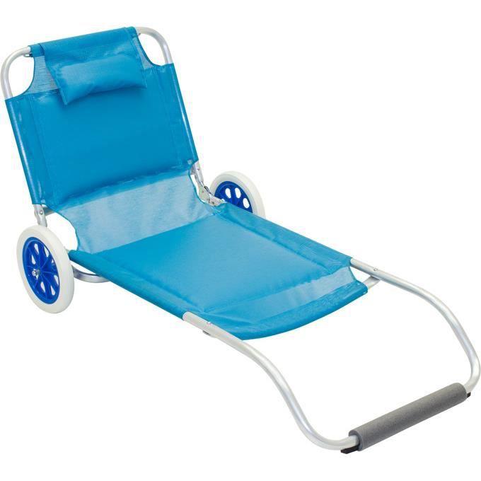Transat Plage Roulettes Transportable Ferrari Bleu Celeste Achat Vente Chaise Longue Transat Plage Roulettes Tra Cdiscount