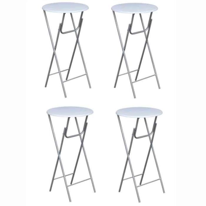 MANGE-DEBOUT Lot de 4 Tables de bar ronde haute Blanche pliable
