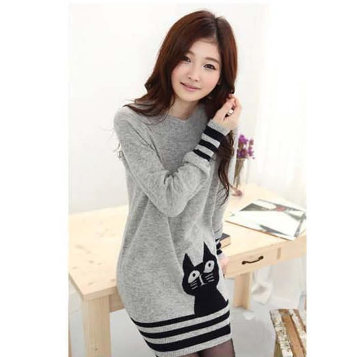 hee grand femme fille sweat shirt pull chandail imprime chat gris gris achat vente robe. Black Bedroom Furniture Sets. Home Design Ideas