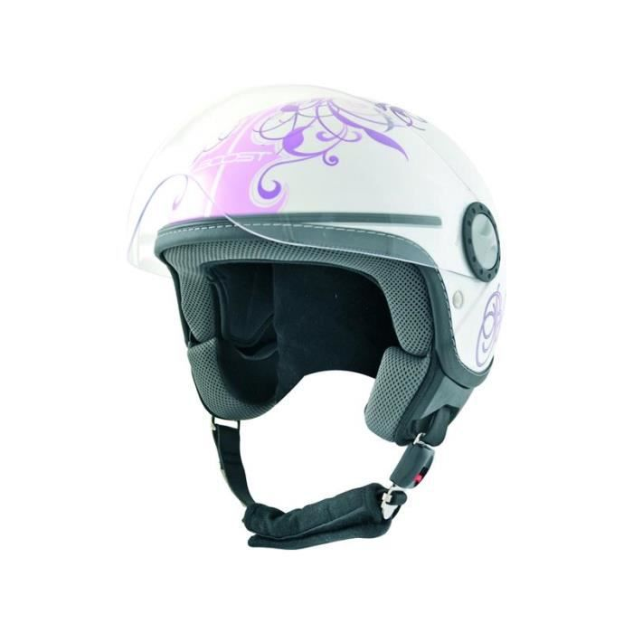 casque moto boost urban girl rose blanc achat vente. Black Bedroom Furniture Sets. Home Design Ideas