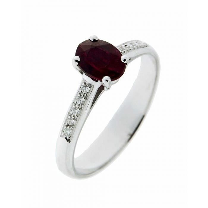 Bague or blanc Rubis