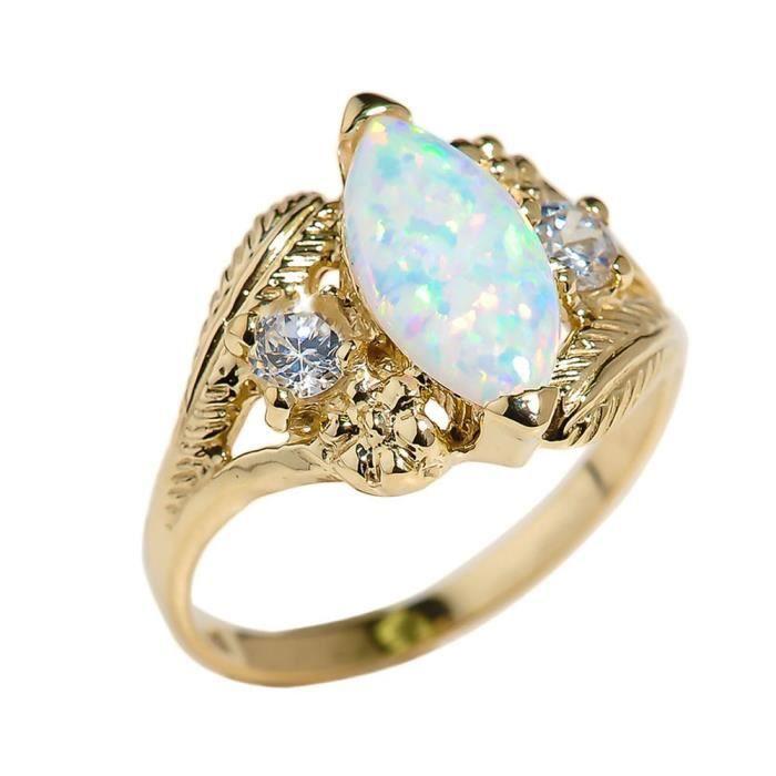 BAGUE - ANNEAU Bague Femme 10 ct Or Jaune 471/1000 Marquise Opal