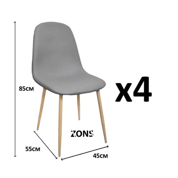 lot de 4 chaises design scandinave tendance nordique pi tement m tal couleur bois naturel et. Black Bedroom Furniture Sets. Home Design Ideas