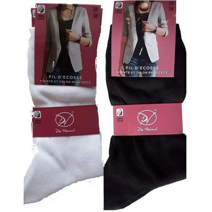 2 lot de 3 paires de socquettes femme coton
