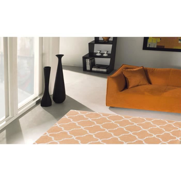Tapis contemporain salon city loft trellis apricot cm for Tapis salon contemporain