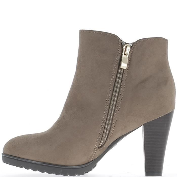 Bottines basses taupe à talon de 8,5cm aspect daim