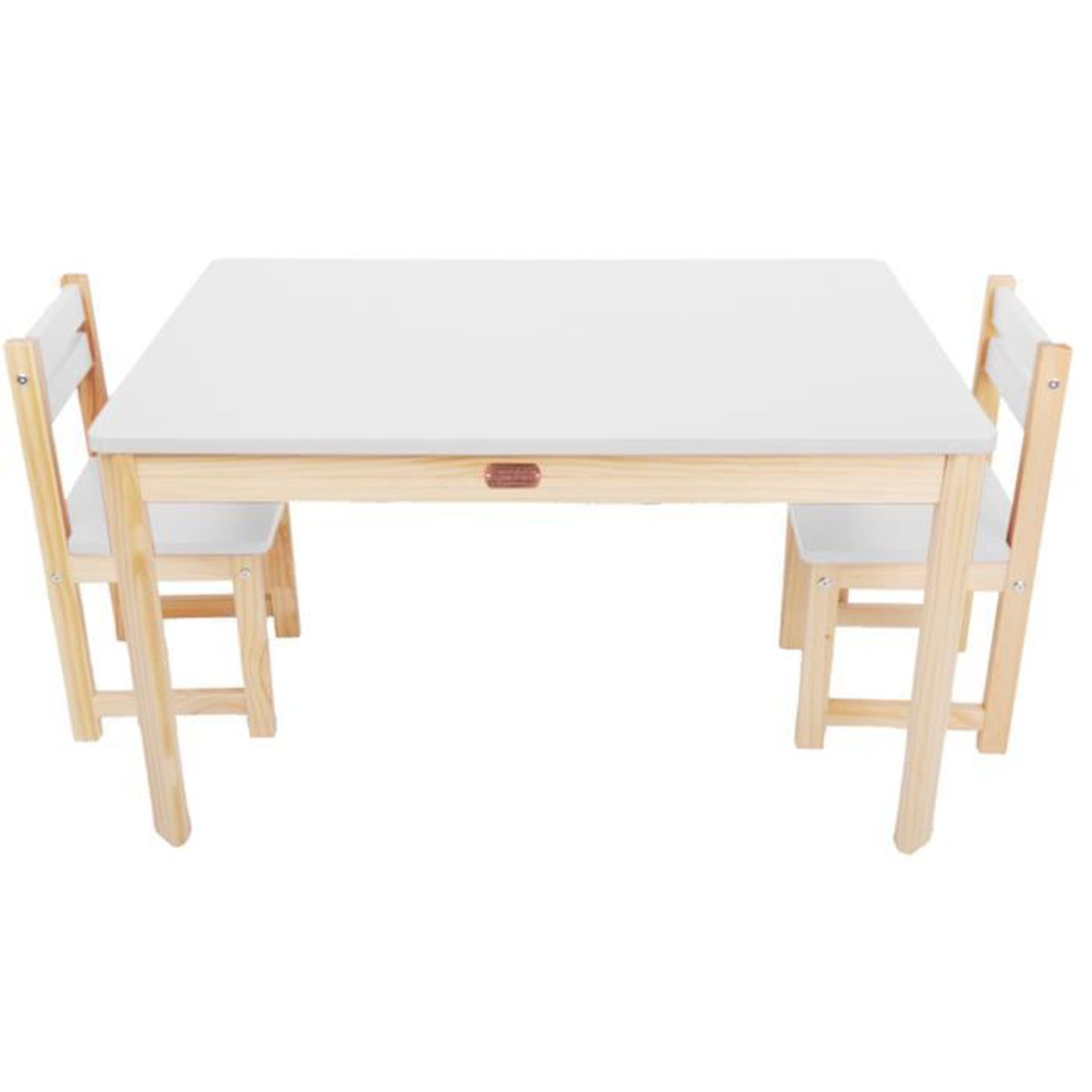 ensemble table rectangulaire et 2 chaises pour enfant en bois coloris blanc. Black Bedroom Furniture Sets. Home Design Ideas