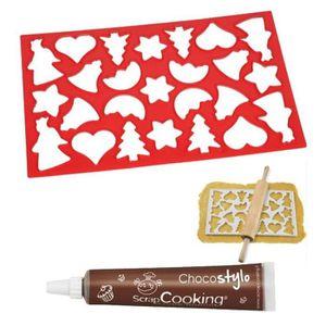EMPORTE-PIÈCE  Plaque découpoir 25 biscuits de Noël + Stylo choco
