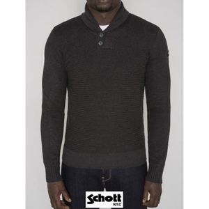 Schott Plpack Pull Taupe pas cher Achat Vente Sweat