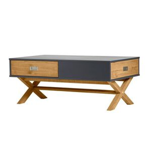 TABLE BASSE Table basse 2 tiroirs Gris anthracite/Bois - RAPHY