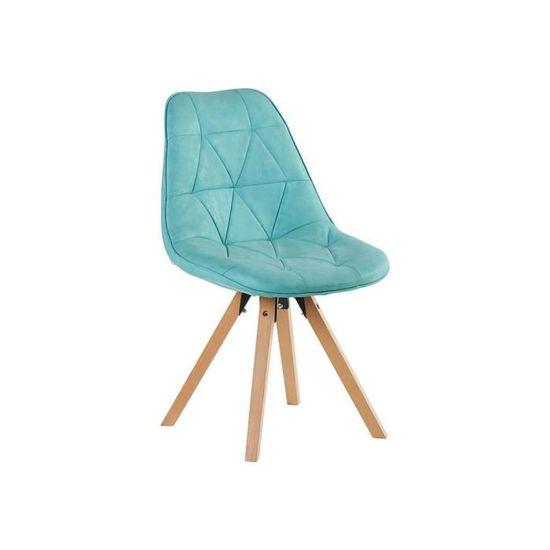 chaises coques bleu scandinaves capitonnées