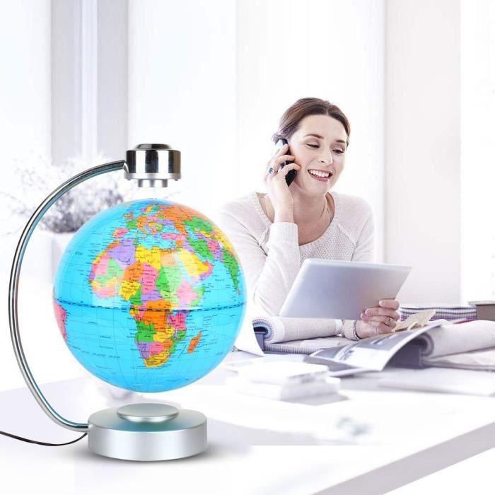 La Lévitation magnétique carte du monde flottant, 8- globe en rotation Planète Terre Globe - Géographie jouet éducatif Cadeaux Enfan