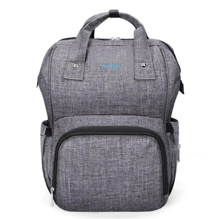 Utotebag Sac à dos pour maman / Sac à langer multifonctionnel pour bébé, sac à langer isolé, soins extérieurs pour bébé (gris)