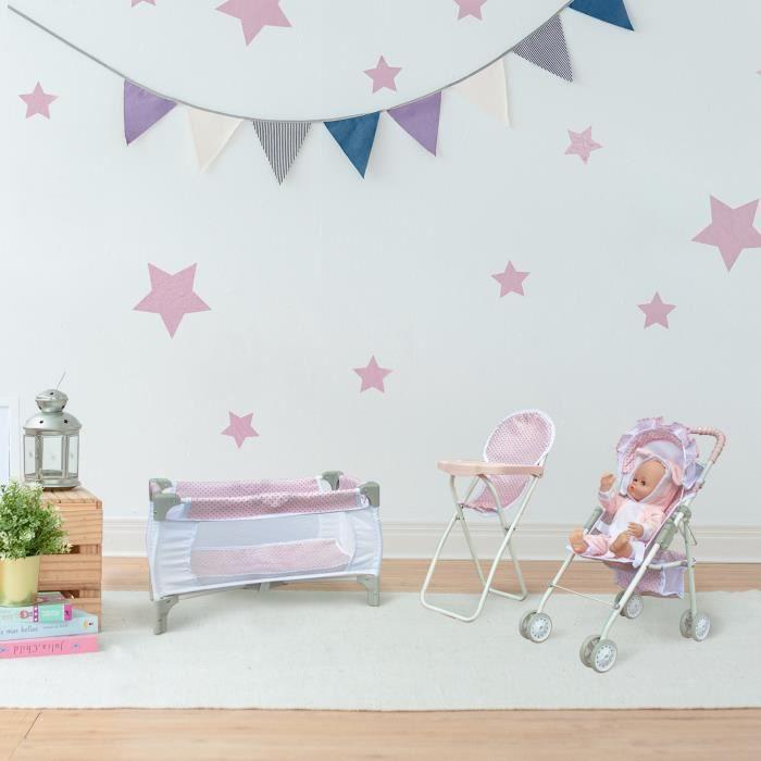 Poussette de poupée 3 en 1, chaise haute et lit rose gris pour enfant Olivia's Little World OL-00014