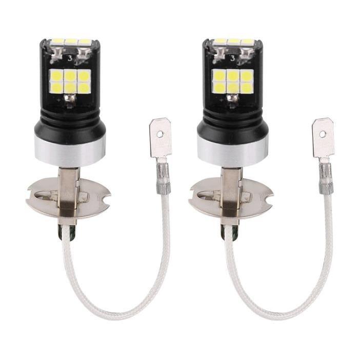 2PCS H3 LED 7000K Kit de Conversion phare de Voiture (12V ~ 24V), IP67 Etanche, Prémium Ampoules 15W 2200LM (lumière blanche)