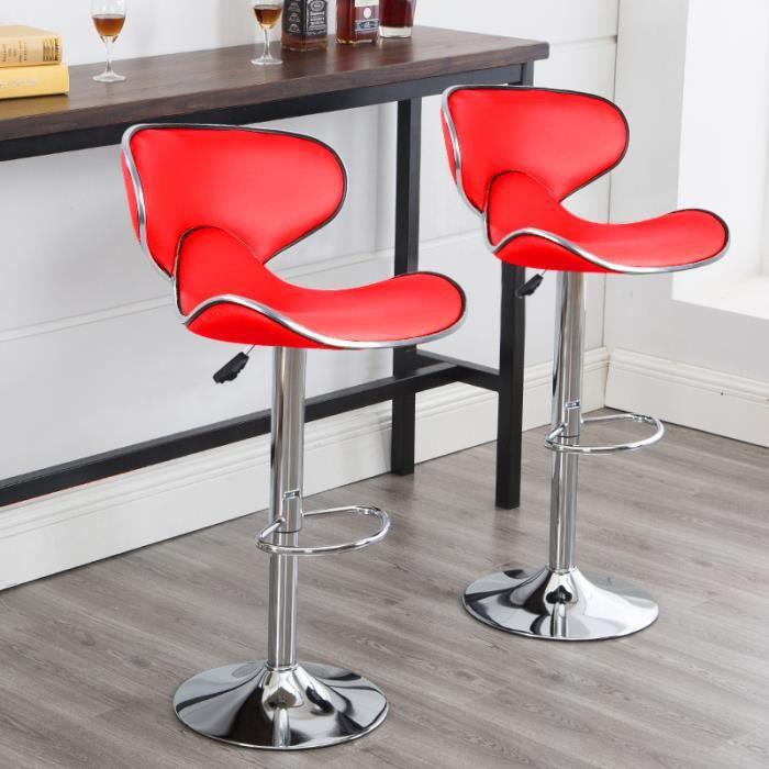 Lot de 4 Tabourets de bar chaise haute design réglable-dossier revêtement synthétique rouge