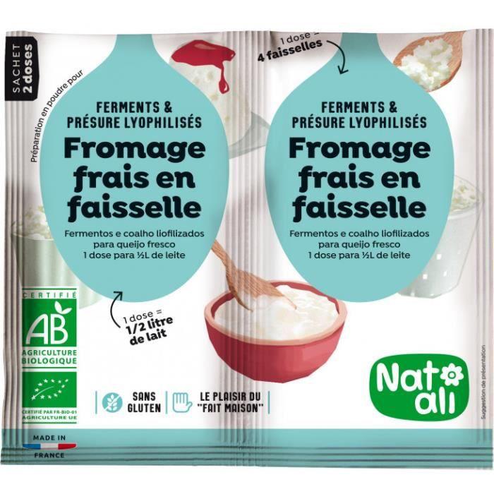 NAT-ALI - Préparation bio pour fromage frais en faisselle 2 x 6 g ( 2 sachets pour 1 L de boisson )