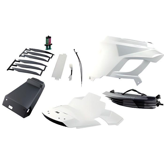 Coque ar scooter bcd adapt. booster 2004- blanc new design avec passage de roue/feu stop