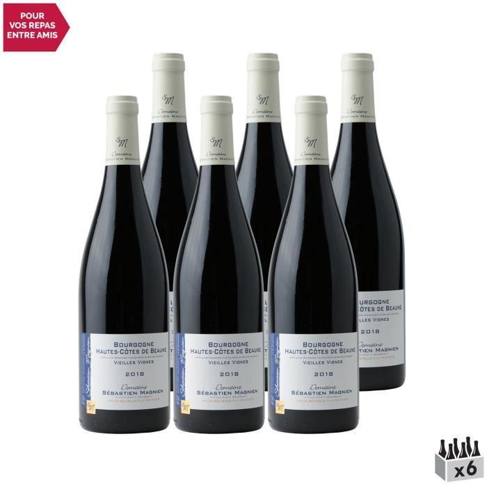 Bourgogne Hautes Côtes de Beaune Vieilles Vignes Rouge 2018 - Lot de 6x75cl - Domaine Sébastien Magnien - Vin AOC Rouge de Bourgogne