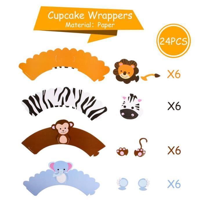 fournitures de fête animaux bois Décoration de fête d'anniversaire thème Safari Jungle pour enf Cake wrappers 02 -FJFK24500