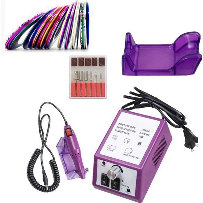 Violet Set Kit Ponceuse à Ongles Professional Polissoir Lime Nail Drill Appareil Electrique pour Ongle Pied Manucure Pédicure