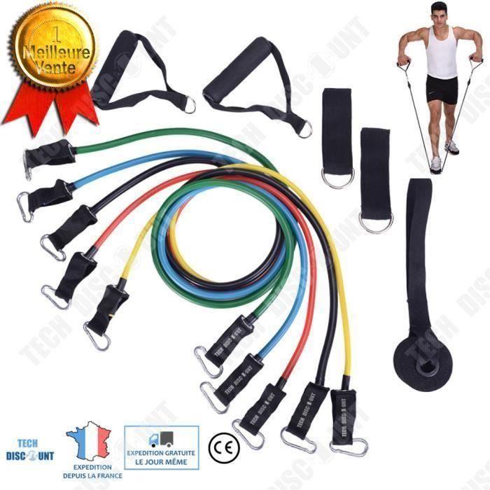TD® set bande elastique fitness musculation 11 sport de resistance traction large cheville pied kit sangle Elastiband exercice hom