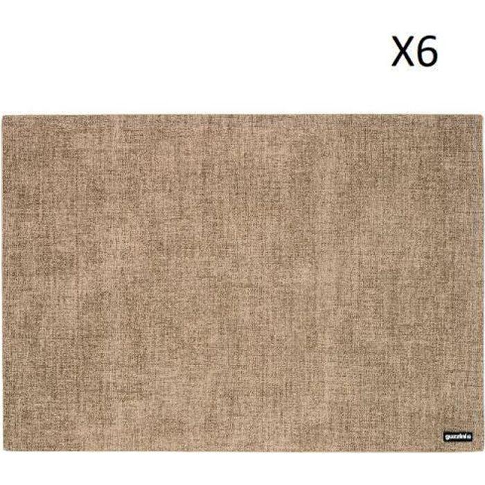 LOT DE 6 SETS DE TABLE TIFFANY SABLE 43X30 CM - GUZZINI