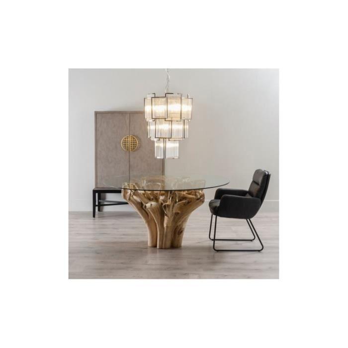 Table à manger naturelle bois et plateau verre