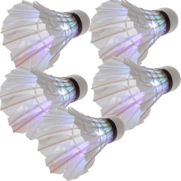 5 x Volant de badminton LED Lumiere coloree Pour la nuit QUIKF7787