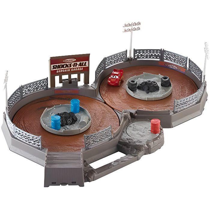 Disney Pixar Cars Coffret circuit Thunder Hollow transportable, piste en 8 pour mini voitures avec mini-véhicule Flash M FLG7