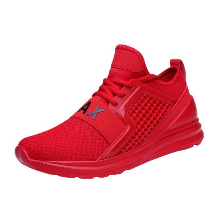 Casual Lace-Up plat Hommes Sport Chaussures Running Wear Résistant Solide Couleur Sneaker rouge