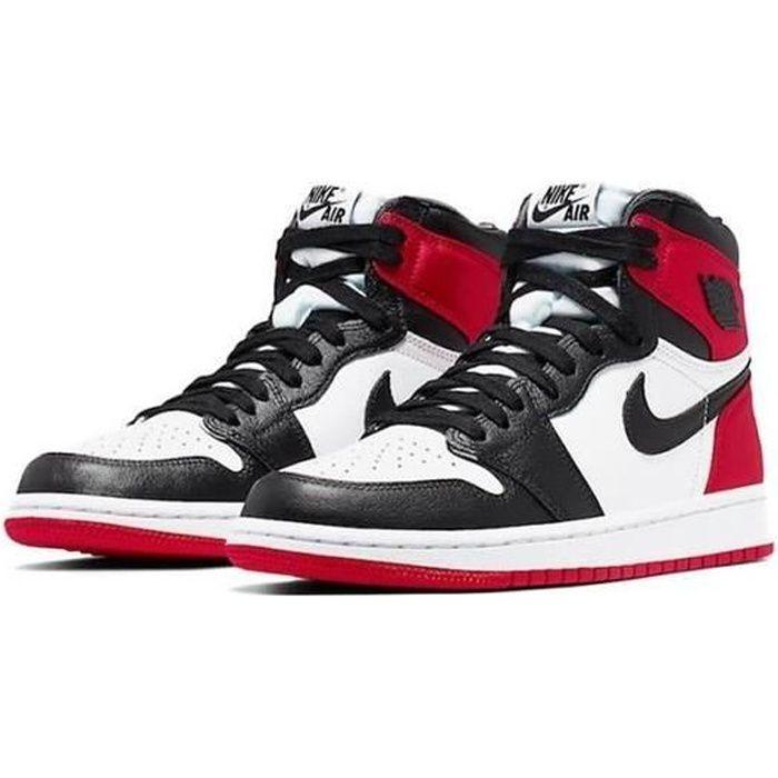 Nike Air Jordans 1 Retro High OG Chaussures de Basket Air Jordans One -Satin Black Toe- Pas Cher AJ1 pour Femme Homme