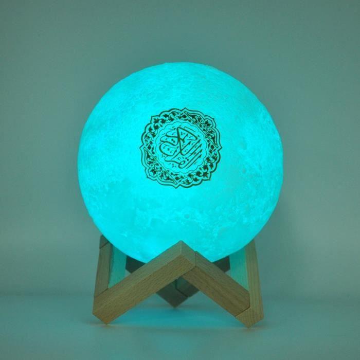 Qur'an Moon Lights Lampe d'impression 3D 7 Couleurs LED Veilleuse, Coran Bluetooth Haut-parleurs Télécommande Petite Lune Lampe